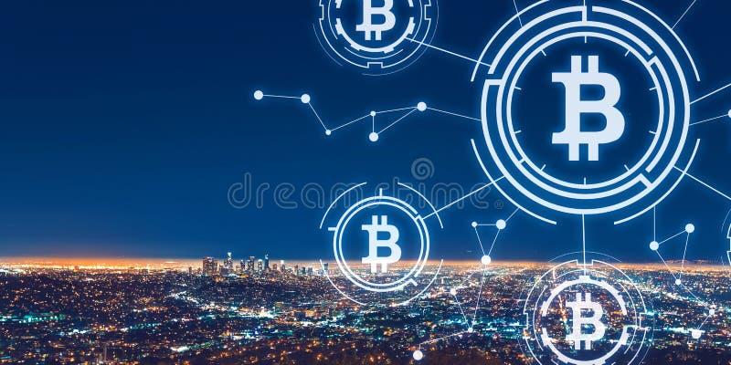 Tema de Bitcoin com Los Angeles do centro imagem de stock royalty free