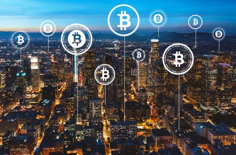 Tema de Bitcoin com Los Angeles do centro fotografia de stock royalty free