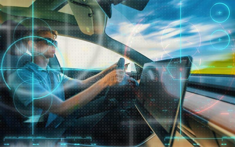 Tema de conducción de ayuda de computadora de la tecnología del coche imagenes de archivo