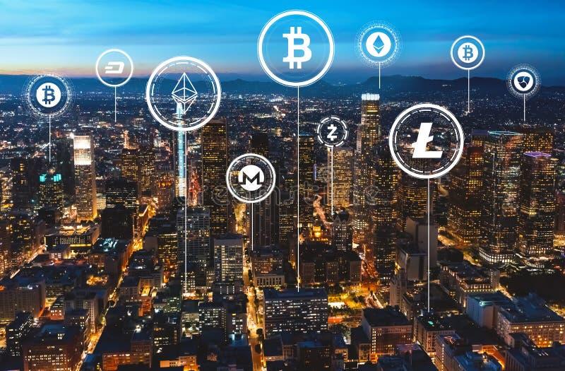 Tema de Cryptocurrency com Los Angeles do centro fotografia de stock royalty free