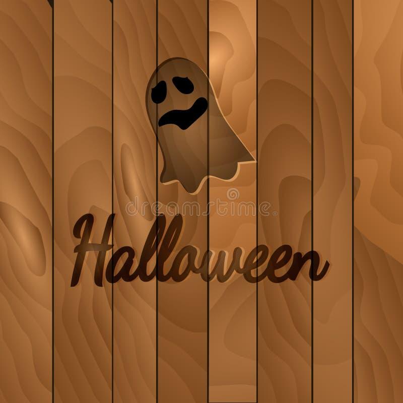 Tema de Dia das Bruxas, fundo de madeira escuro com fantasma ilustração do vetor