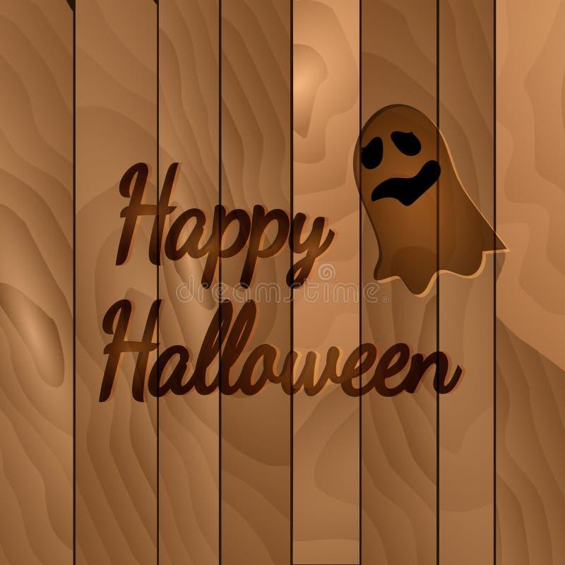 Tema de Dia das Bruxas, fundo de madeira escuro com fantasma ilustração royalty free