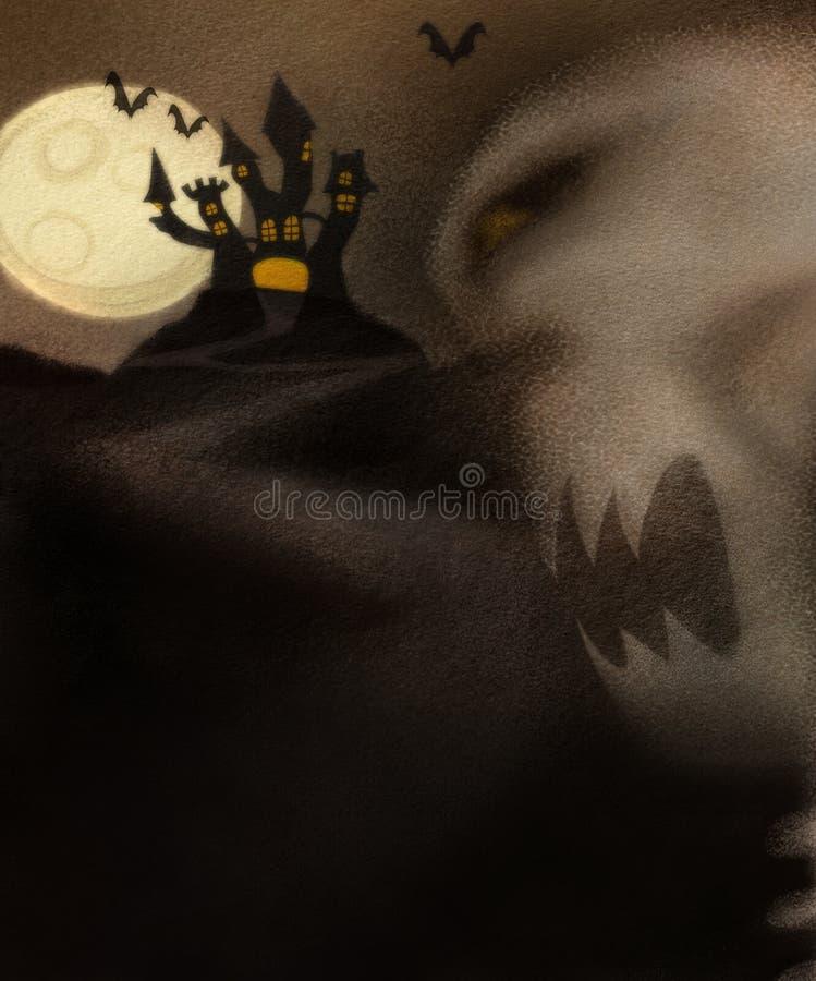 Tema de Halloween com esqueleto mau ilustração royalty free