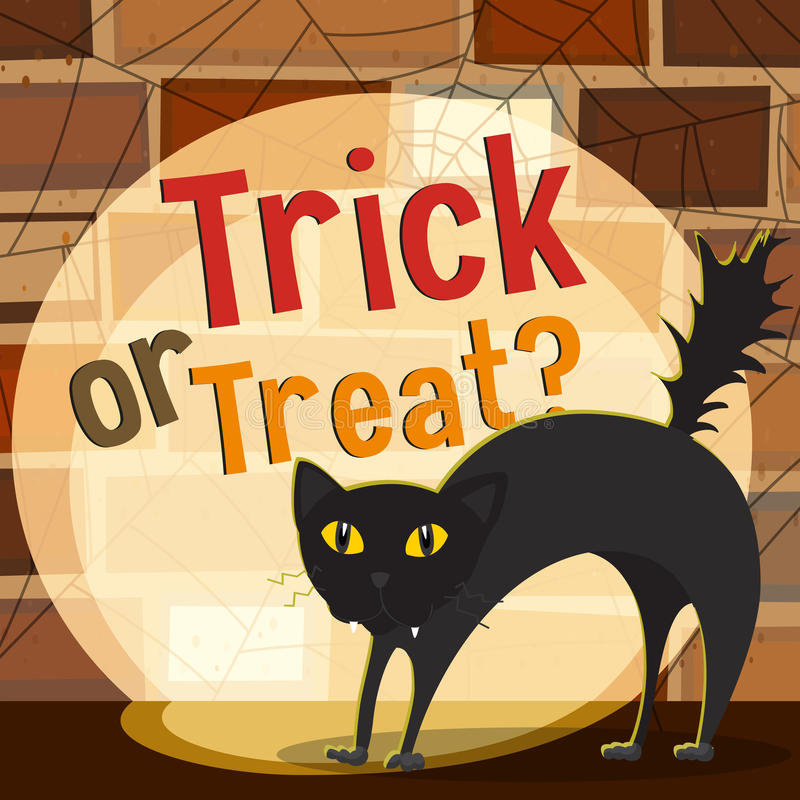 Tema de Halloween con el gato negro ilustración del vector