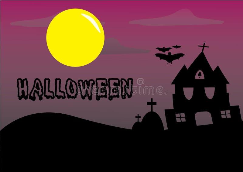 Tema de Halloween el castillo y el cementerio de la silueta imágenes de archivo libres de regalías