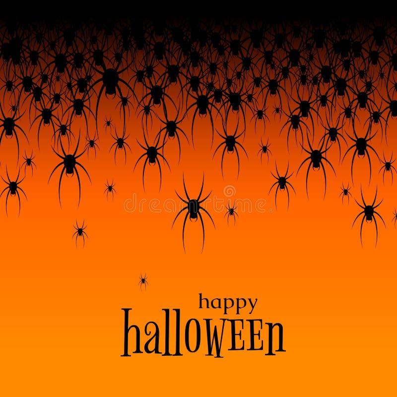 Tema de Halloween muchas arañas negras en una plantilla creativa del cartel de la bandera del sitio web del diseño del fondo del  stock de ilustración