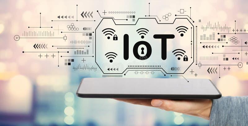 Tema de IoT com tablet pc ilustração do vetor