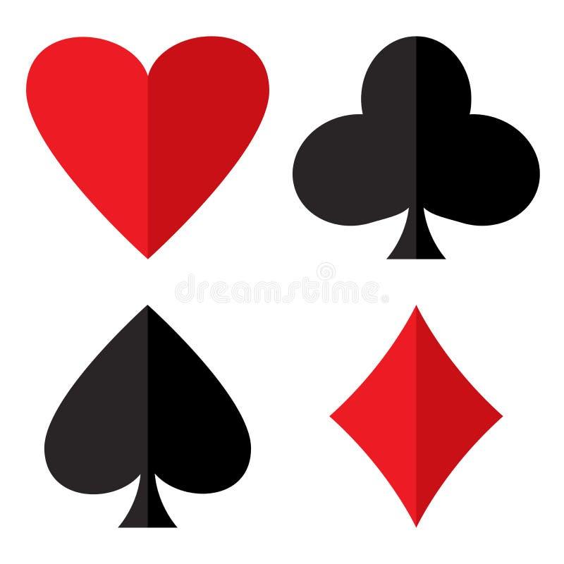 Tema de juego del casino Sistema de trajes del naipe Trajes de la tarjeta del p?ker - coraz?n, club, espada y diamantes Ilustraci stock de ilustración