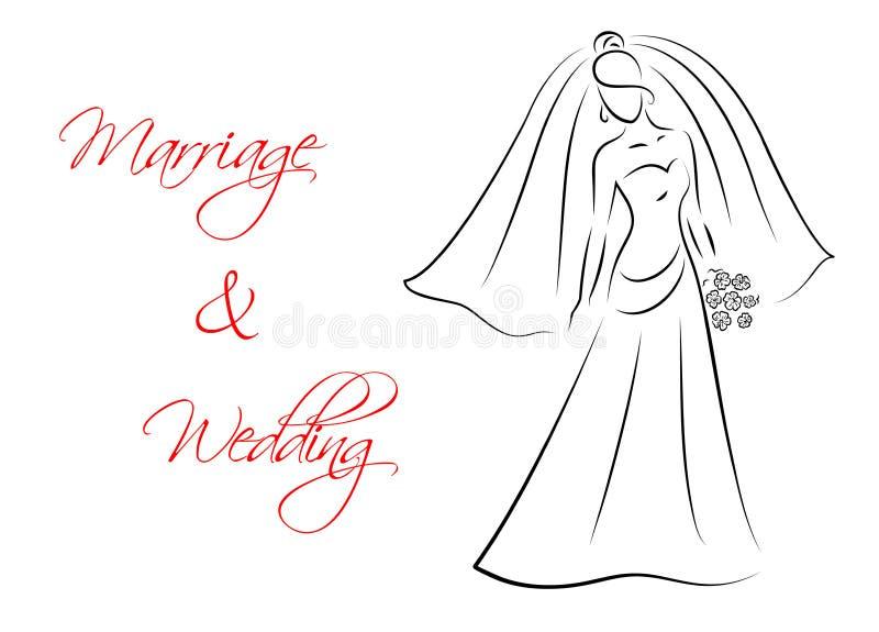 Tema de la boda y de la boda con la silueta de la novia libre illustration