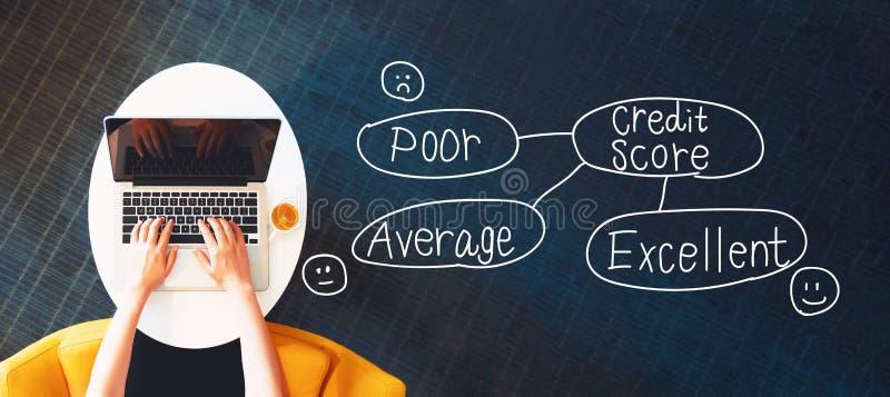 Tema de la cuenta de crédito con la persona que usa un ordenador portátil stock de ilustración