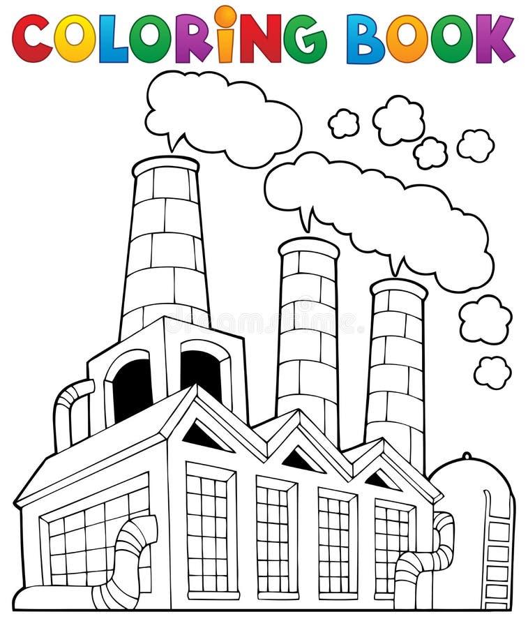 Tema 1 De La Fábrica Del Libro De Colorear Ilustración del Vector ...