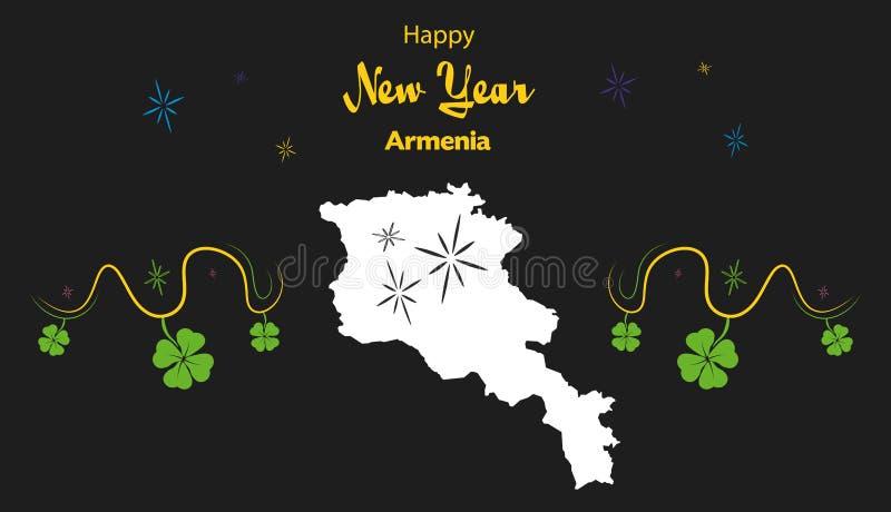 Tema de la Feliz Año Nuevo con el mapa de Armenia stock de ilustración