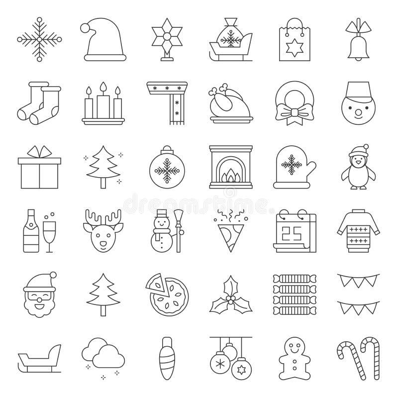 Tema de la Feliz Navidad fijado por ejemplo el muñeco de nieve, Santa Claus, esquema stock de ilustración