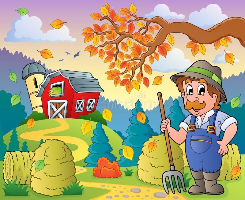 Tema 9 de la granja del otoño ilustración del vector