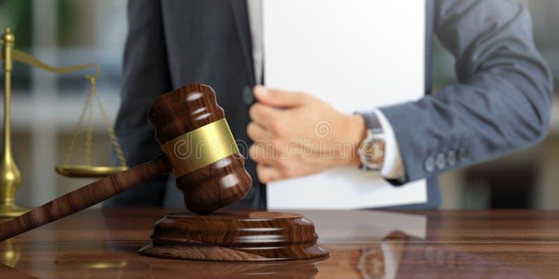 Tema de la ley Juez o abogado que sostiene el fichero del caso ilustración 3D fotografía de archivo