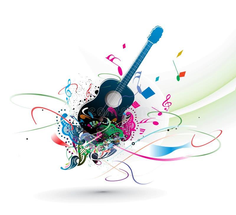 Tema de la música con el fondo abstracto del color del arco iris stock de ilustración