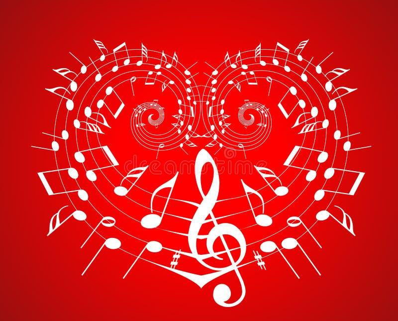 Tema de la música de la tarjeta del día de San Valentín stock de ilustración