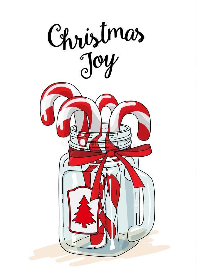 Tema de la Navidad, bastones de caramelo en el tarro de cristal con la cinta roja y alegría de la Navidad del texto, ejemplo ilustración del vector