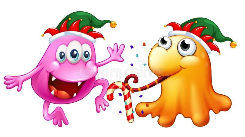 Tema de la Navidad con dos monstruos en el partido ilustración del vector