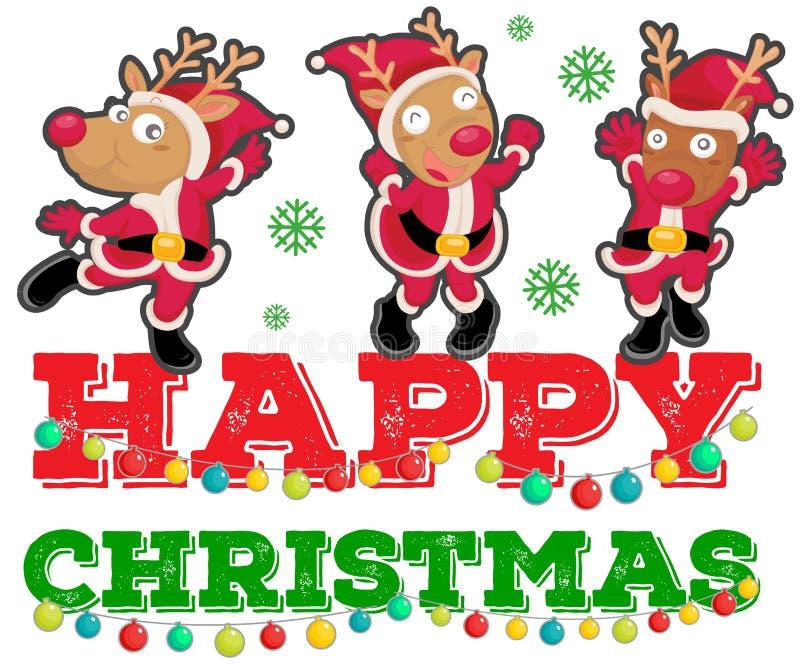 Tema de la Navidad con el baile de tres renos stock de ilustración