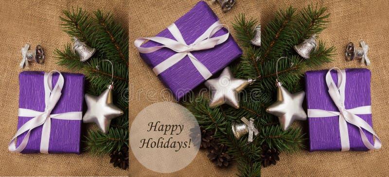 Tema de la Navidad del collage con la etiqueta buenas fiestas foto de archivo libre de regalías