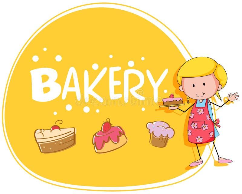 Tema de la panadería con el panadero y la torta ilustración del vector