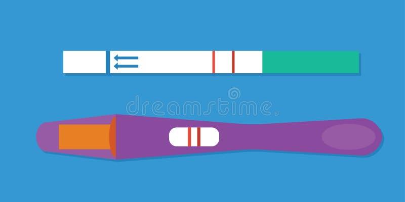Tema de la salud del ` s de las mujeres Iconos planos de la prueba de embarazo Ejemplo del vector del resultado de los exámenes m libre illustration