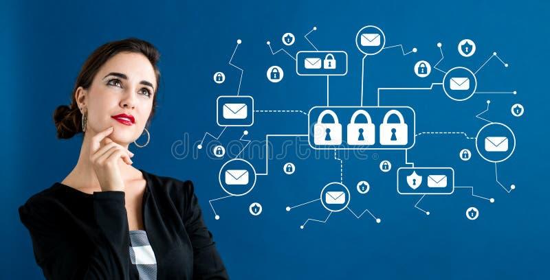 Tema de la seguridad del correo electrónico con la mujer de negocios imagen de archivo