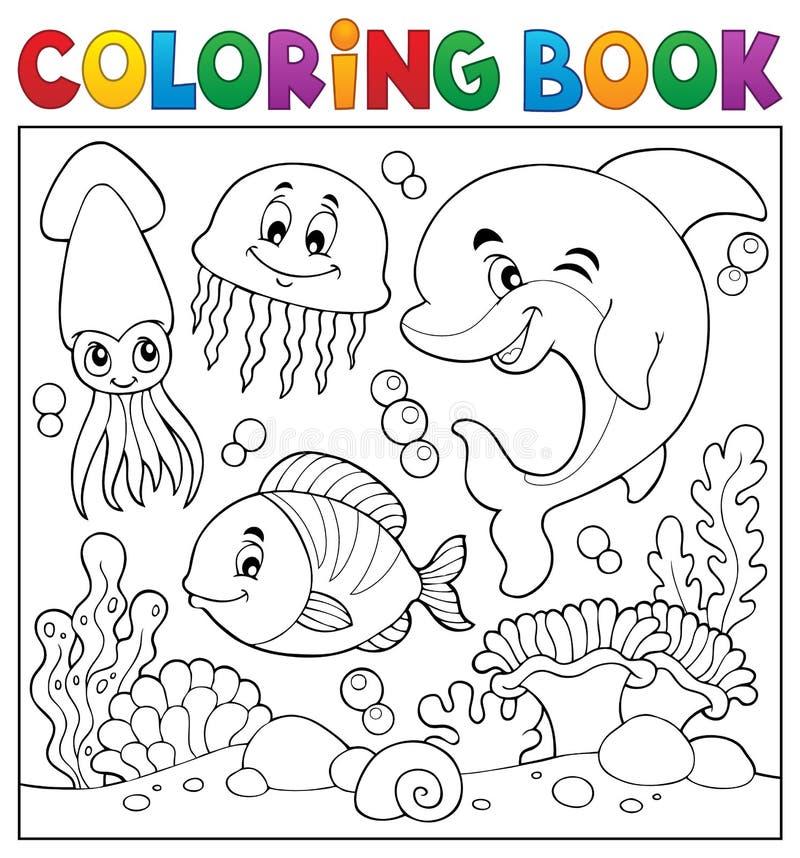 Tema 7 De La Vida Marina Del Libro De Colorear Ilustración del ...