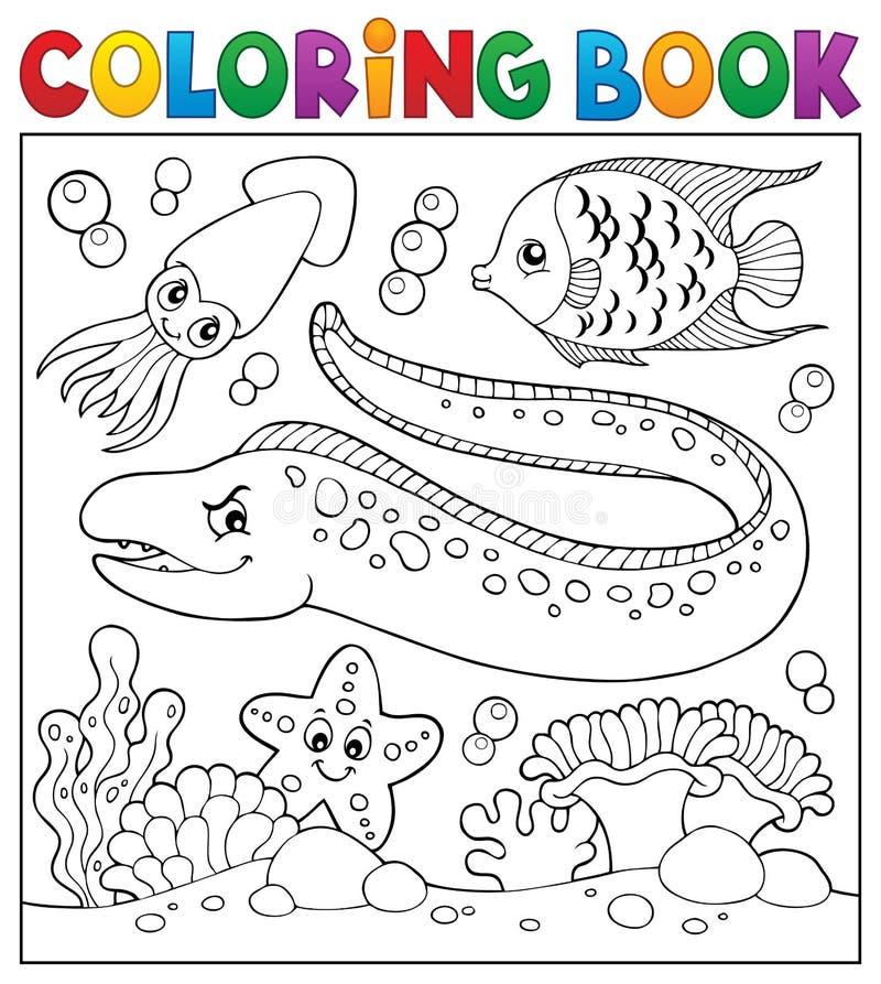 Tema 3 De La Vida Marina Del Libro De Colorear Ilustración del ...