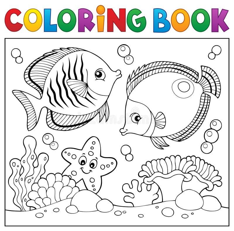 Tema 5 De La Vida Marina Del Libro De Colorear Ilustración del ...