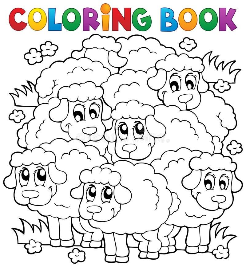 Tema 2 de las ovejas del libro de colorear ilustración del vector