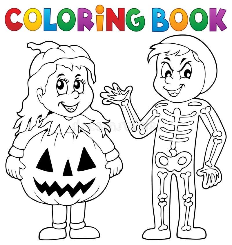 Tema 1 de los disfraces de Halloween del libro de colorear stock de ilustración
