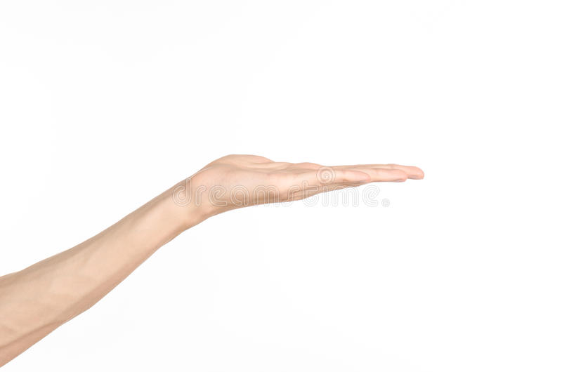 Tema de los gestos de mano: la mano humana muestra gestos aislada en el fondo blanco en estudio fotos de archivo