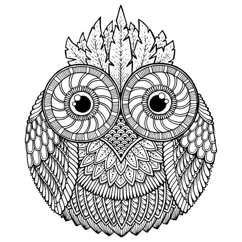 Tema de los pájaros Mandala blanco y negro del búho con el modelo azteca étnico abstracto del ornamento libre illustration