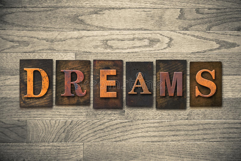 Tema de madeira da tipografia dos sonhos imagens de stock royalty free