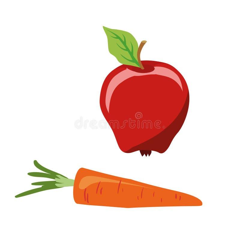 Tema de Pascua alimento dietético Comida por el tiempo Lent Apple y zanahoria Ilustración aislada del vector ilustración del vector