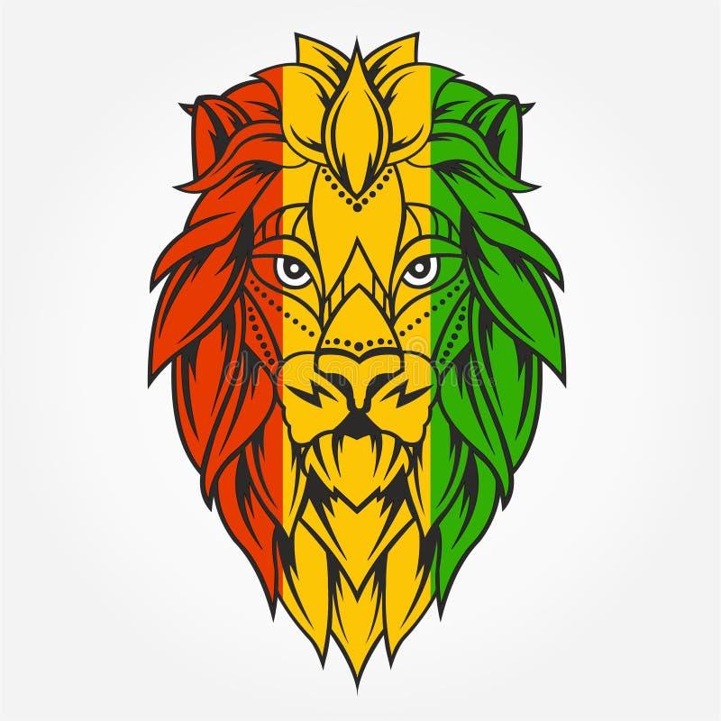 Tema de Rasta con la cabeza del león en fondo negro Ilustración del vector stock de ilustración