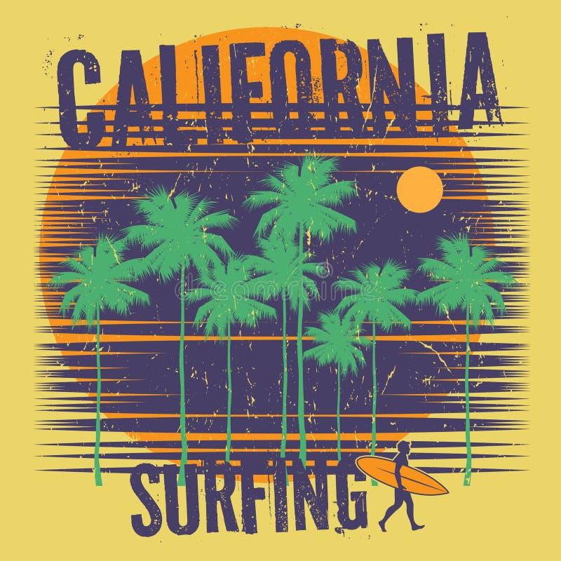 Tema de surfar com texto Califórnia, surfando ilustração stock
