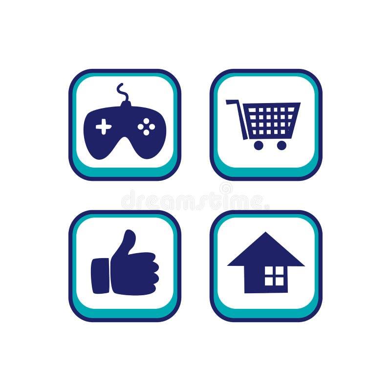 tema del activo del juego del botón del icono del app del color libre illustration