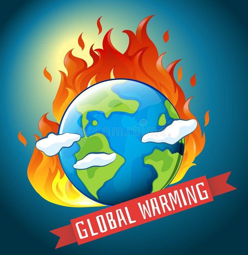 Tema del calentamiento del planeta con tierra en el fuego libre illustration