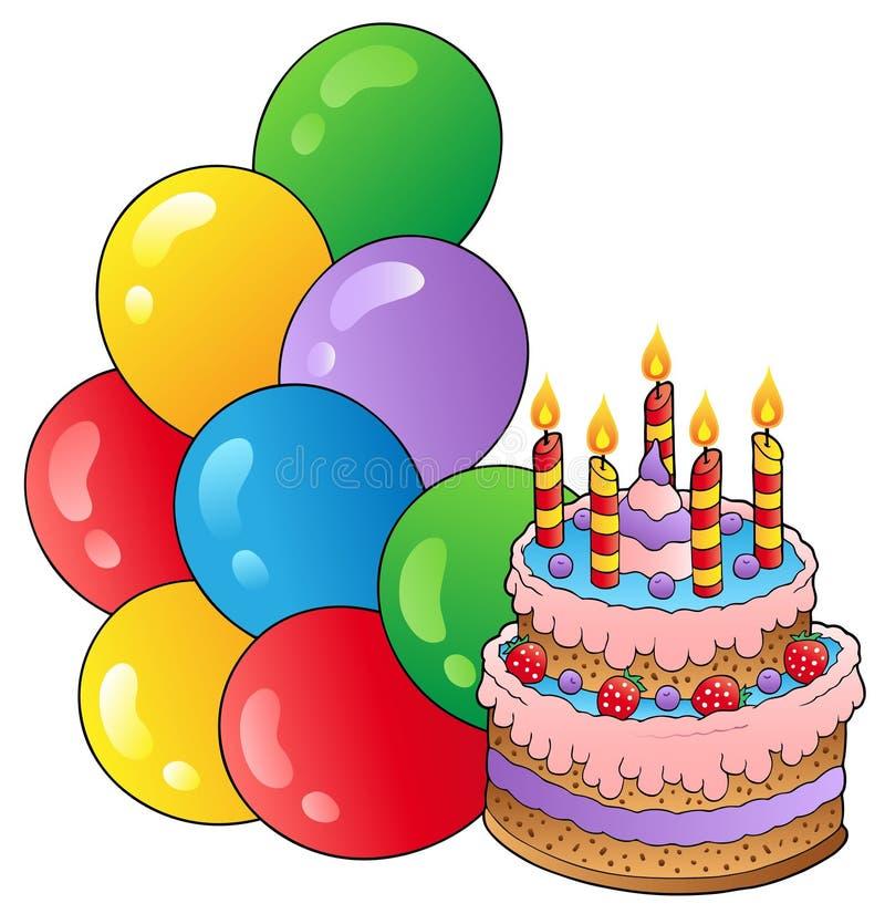 Tema del cumpleaños con la torta 1 stock de ilustración
