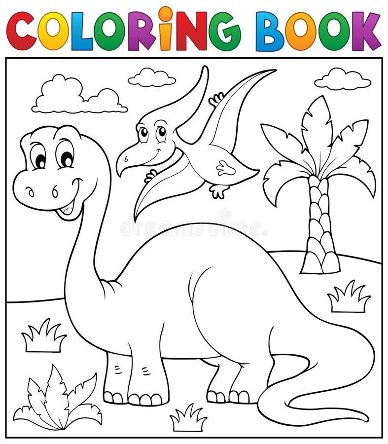 Tema 3 Del Dinosaurio Del Libro De Colorear Ilustración del Vector ...