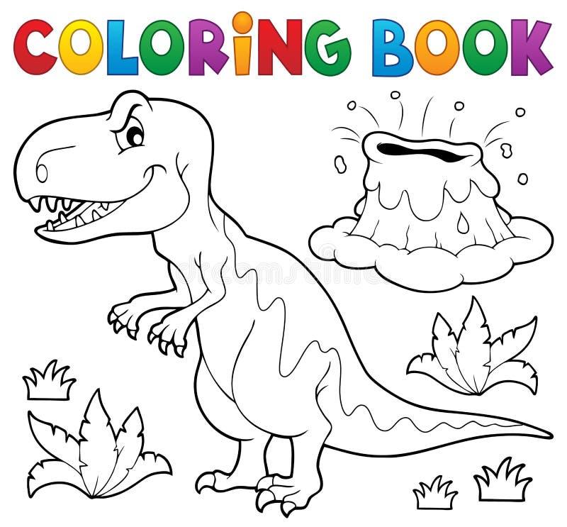 Tema 1 Del Dinosaurio Del Libro De Colorear Ilustración del Vector ...