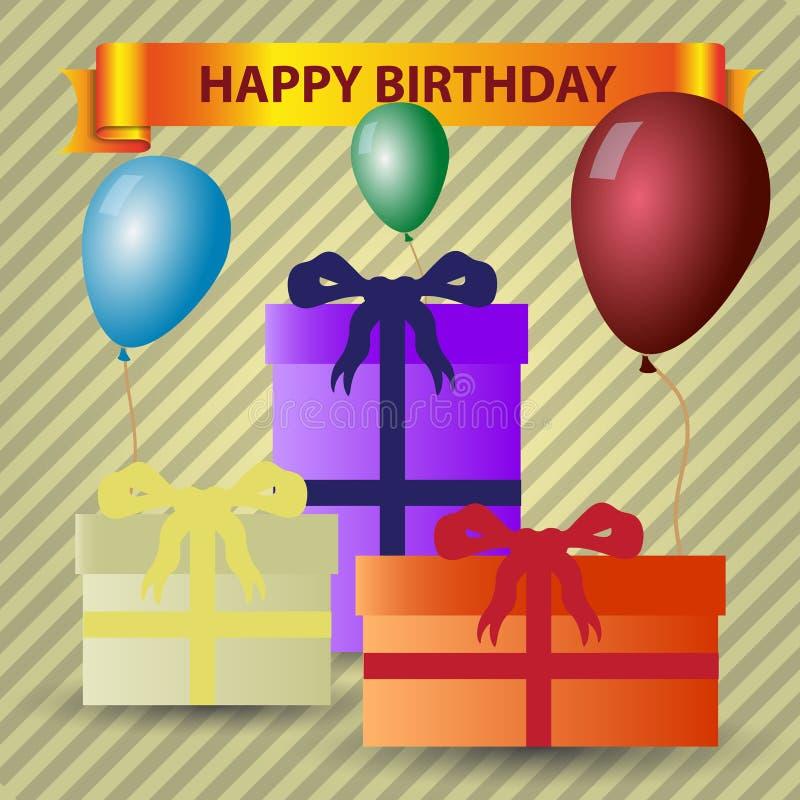 Tema del feliz cumpleaños con los regalos y los globos stock de ilustración