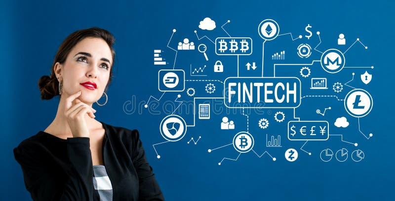 Tema del fintech de Cryptocurrency con la mujer de negocios imagen de archivo libre de regalías