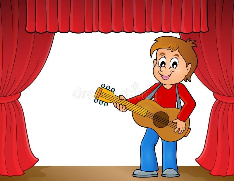 Tema 1 del giocatore di chitarra del ragazzo in scena illustrazione di stock