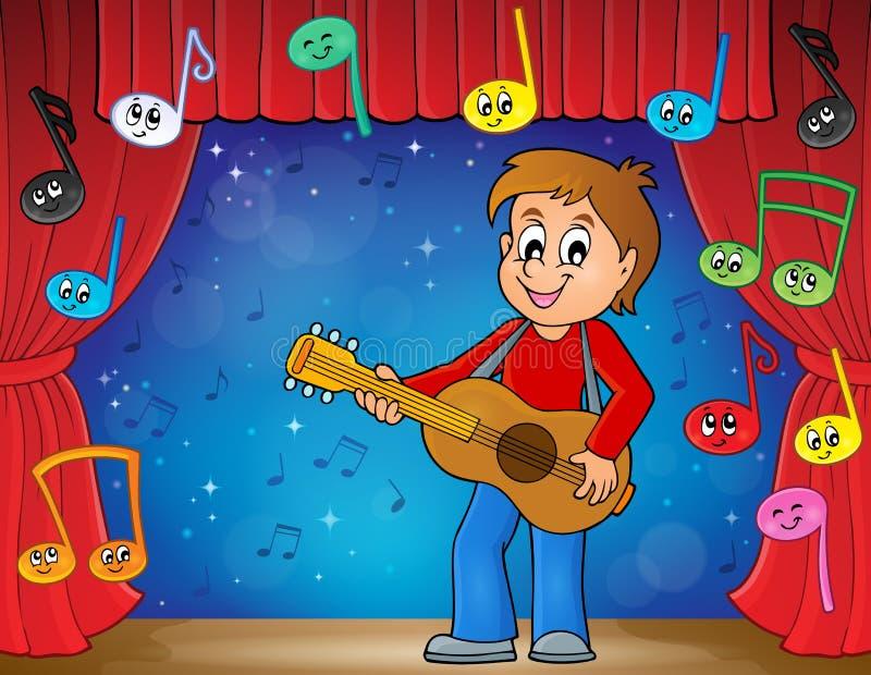 Tema 2 del giocatore di chitarra del ragazzo in scena illustrazione vettoriale