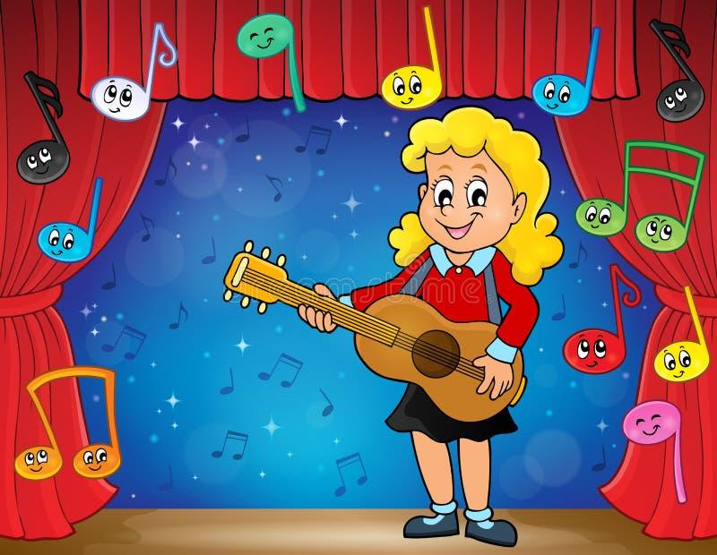 Tema 2 del giocatore di chitarra della ragazza in scena royalty illustrazione gratis