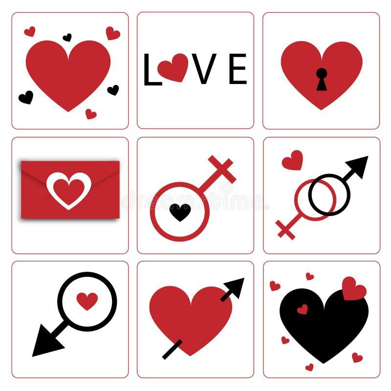 Tema del icona-biglietto di S. Valentino del cuore di Vecrtor royalty illustrazione gratis